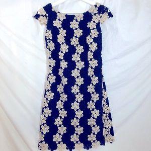 Lilly Pulitzer Navy/Gold Crochet Shift Dress SZ 00